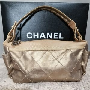 Authentic Chanel Biarritz Metallic Coated Canvas